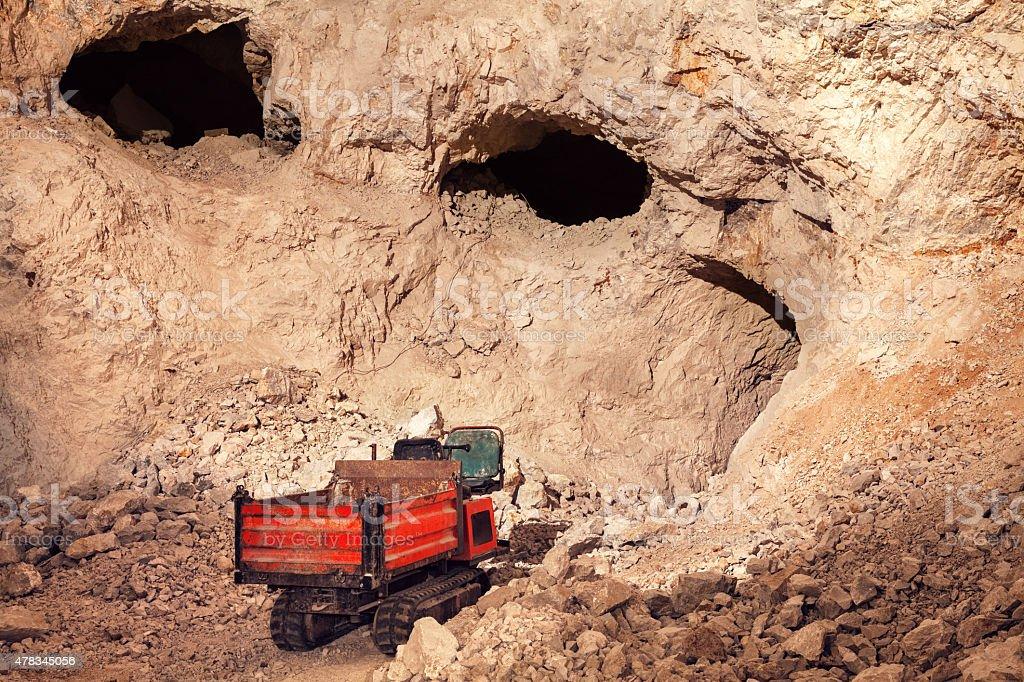 Mine Shafts Deep Underground stock photo