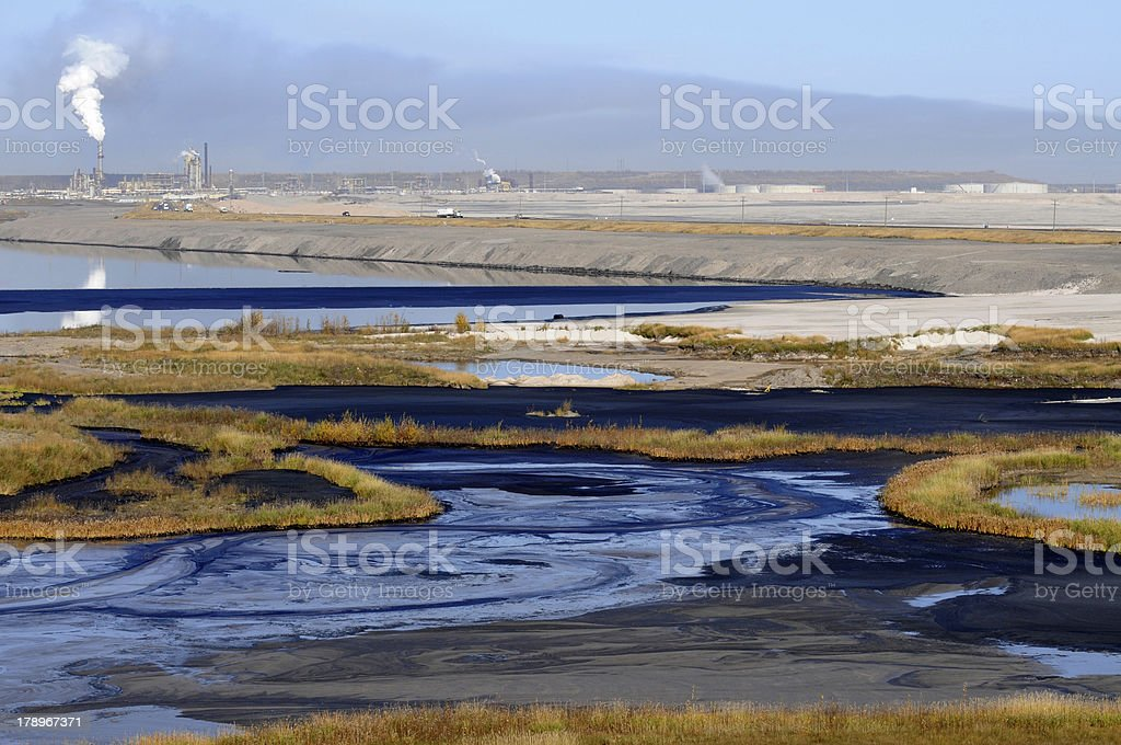 Mine tailings pond stock photo