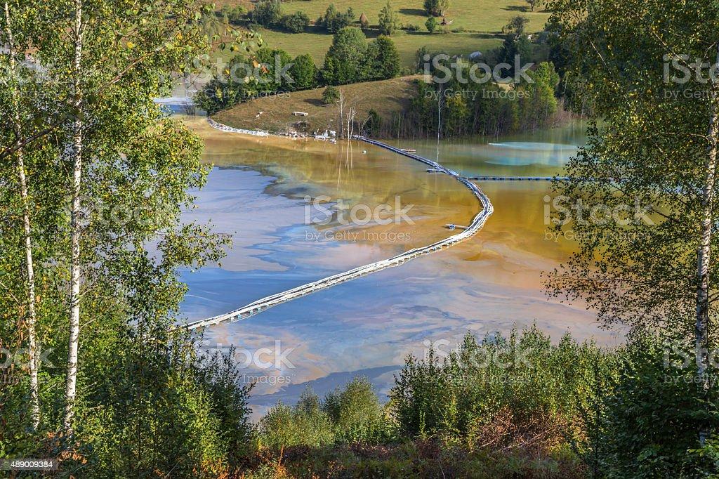 Mine tailings pond stock photo