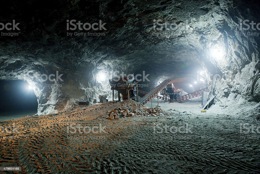 Mine work underground stock photo