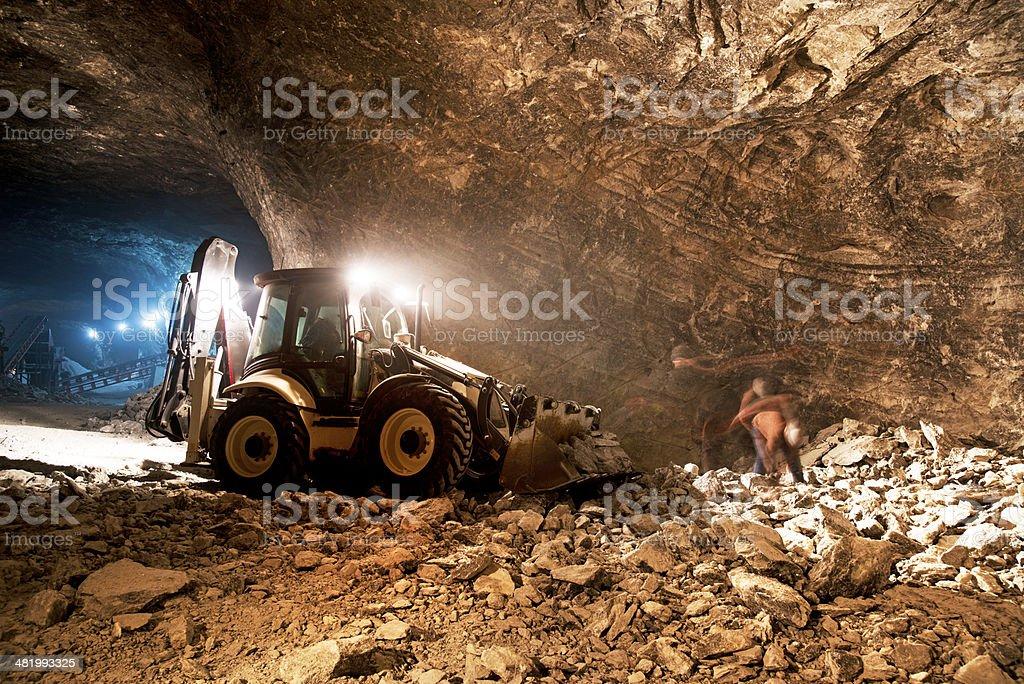 Mine work underground stock photo