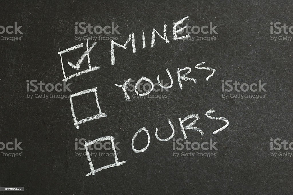 Mine, Yours and Ours Checkbox on Blackboard stock photo