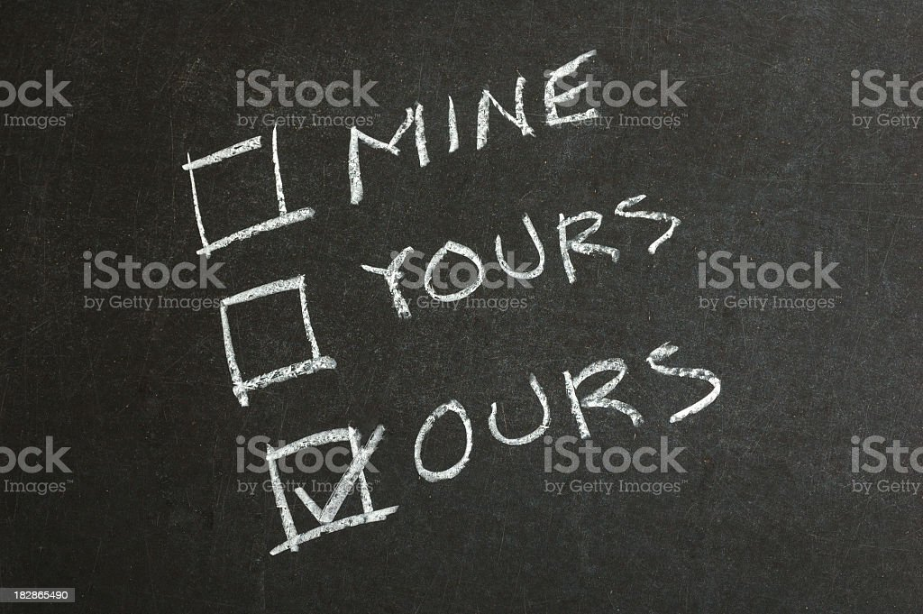 Mine, Yours and Ours Checkbox royalty-free stock photo