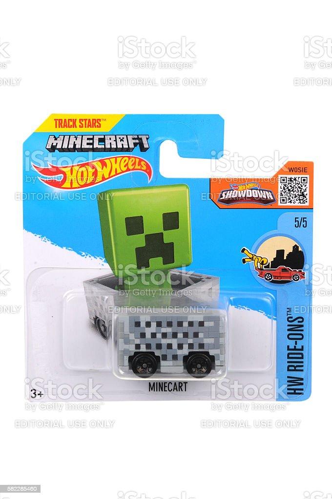 Minecraft Minecart Hot Wheels Diecast Toy Vehicle stock photo