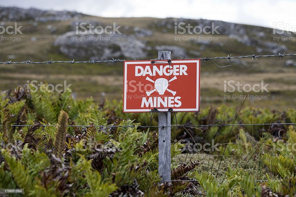 Minefield Sign, Falkland Islands stock photo
