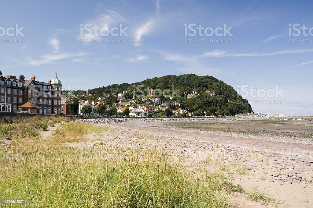 Minehead beach and shoreline looking west in Somerset stock photo
