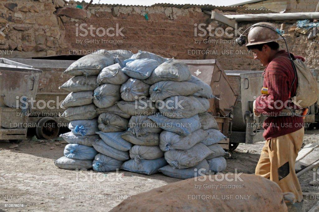 Miner at Potosi, Bolivia stock photo