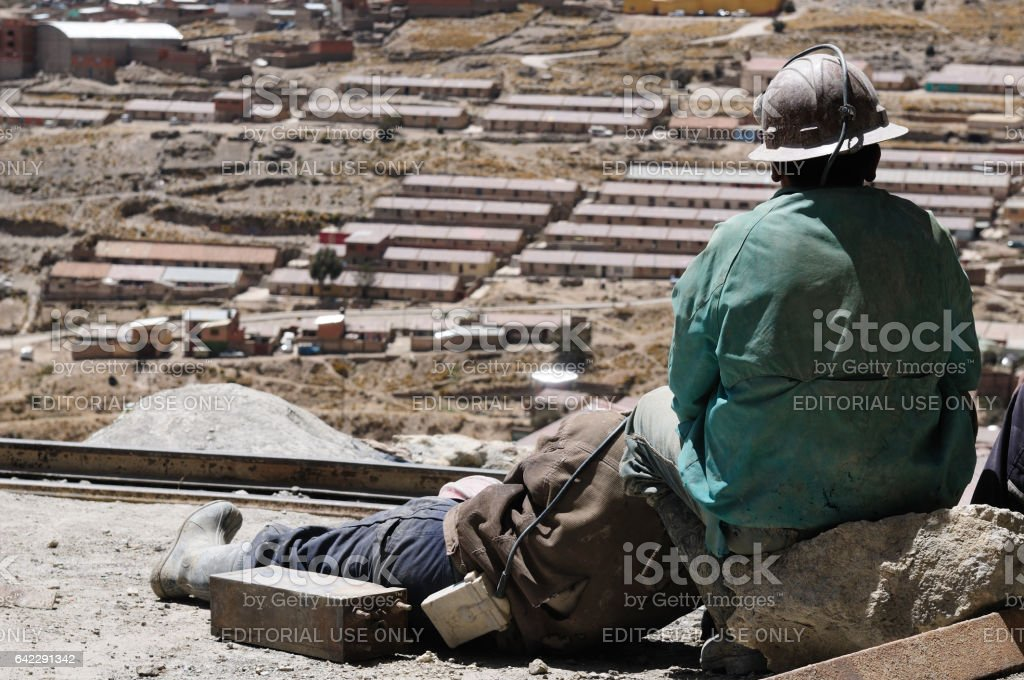 Miner from the mine on the break stock photo