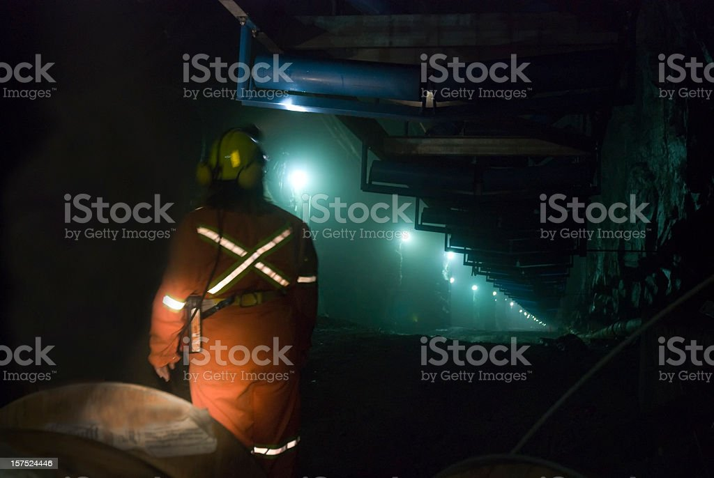 Miner in a Mine Shaft. stock photo