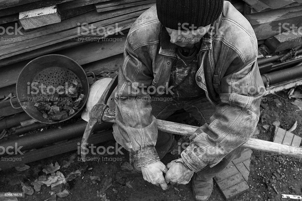 Miner resting stock photo