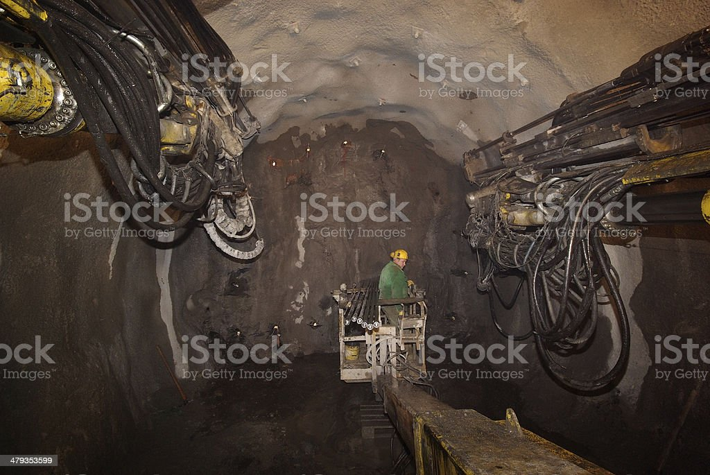 Miner underground stock photo