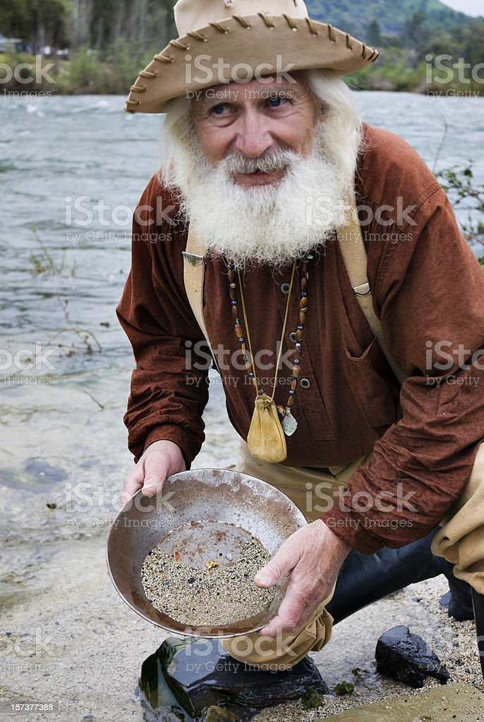 Miner with Gold Pan stock photo