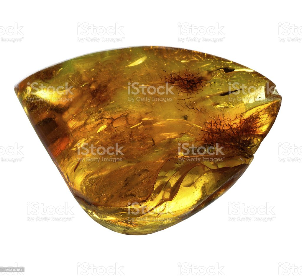 Mineral amber on a white background stock photo