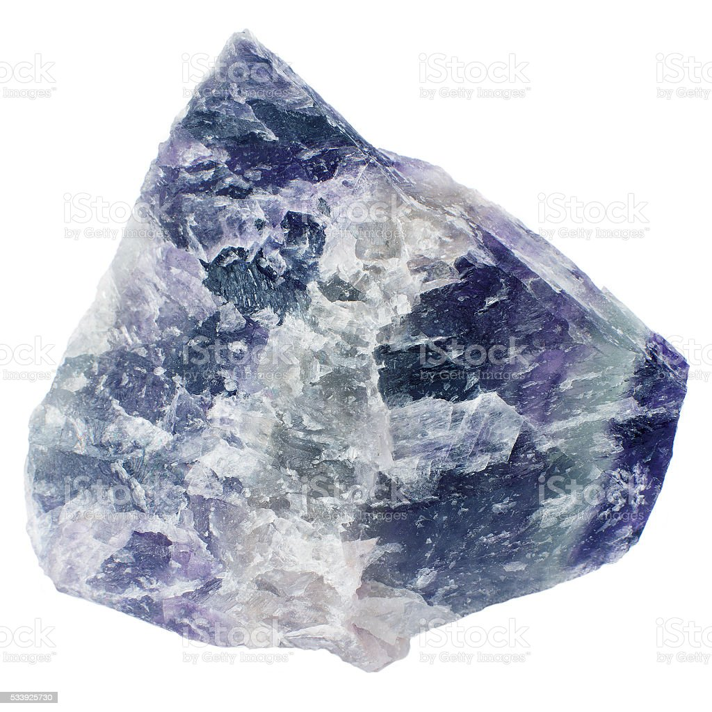 Mineral  fluorite (fluorspar) isolated on white background. stock photo