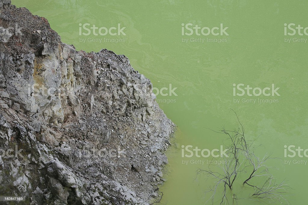 mineral laden pool at thermal spring stock photo