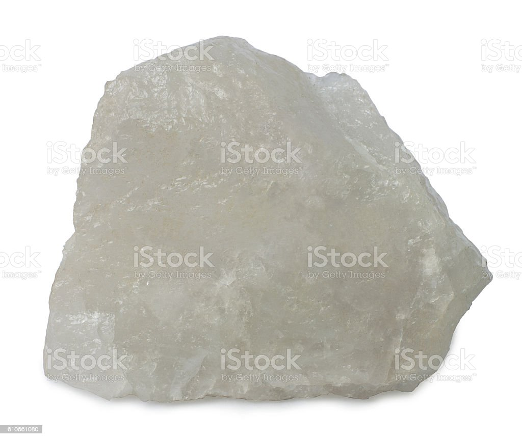Mineral  milky quartz isolated on white background stock photo