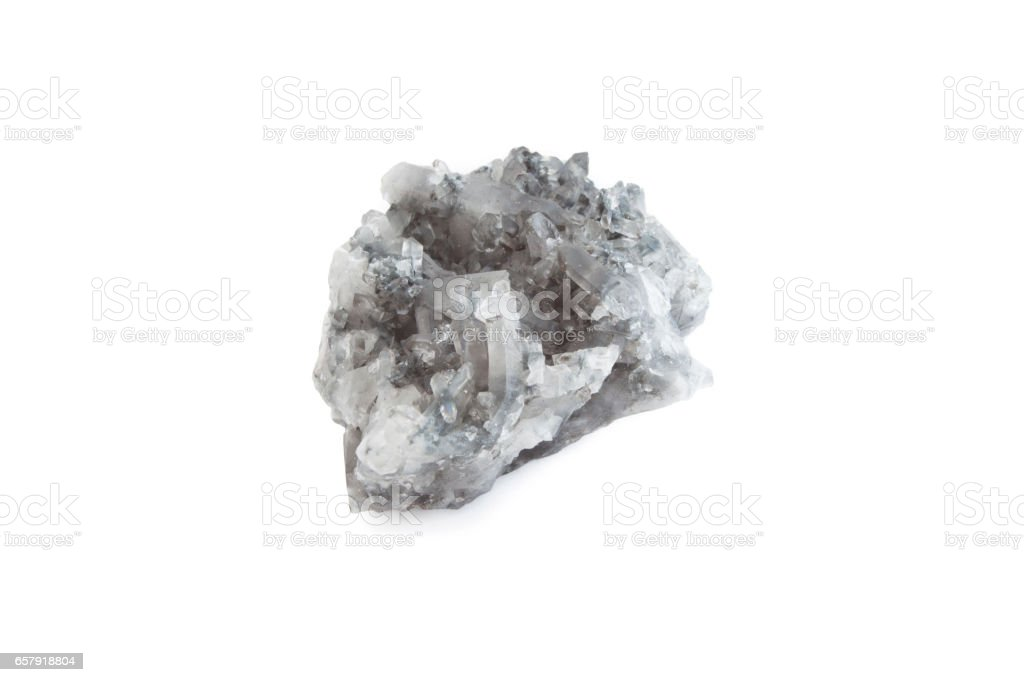 mineral of smoky quartz in white background stock photo