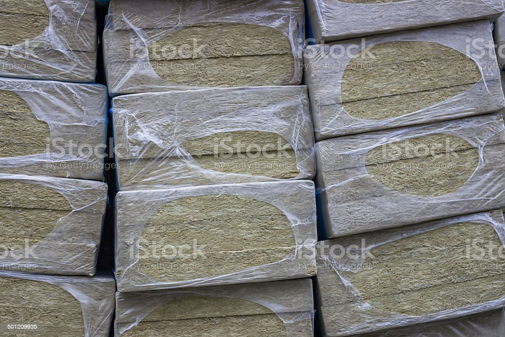 Mineral rock wool board insulation 4 stock photo