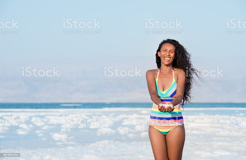Mineral salt for healthy skin. stock photo
