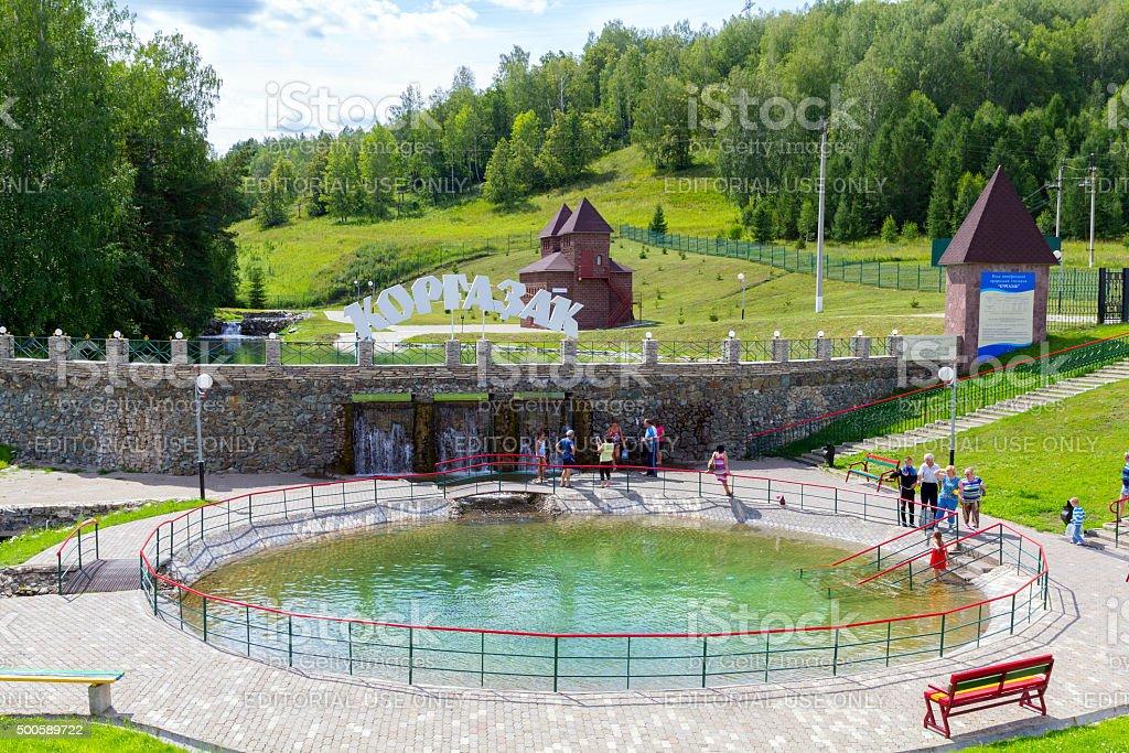 Mineral spring in the resort Kurgazak stock photo