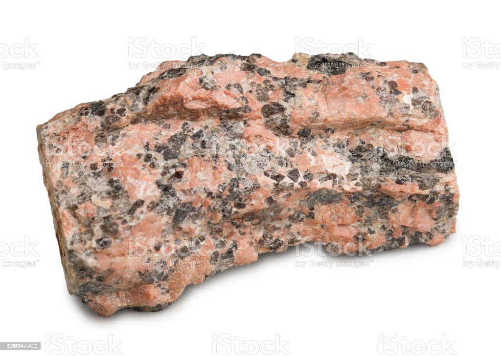 Mineral stone red granite isolated on white background. stock photo