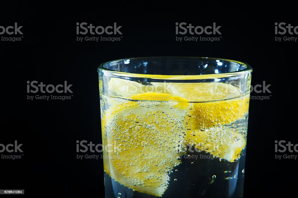 mineral water with lemon royalty-free stock photo