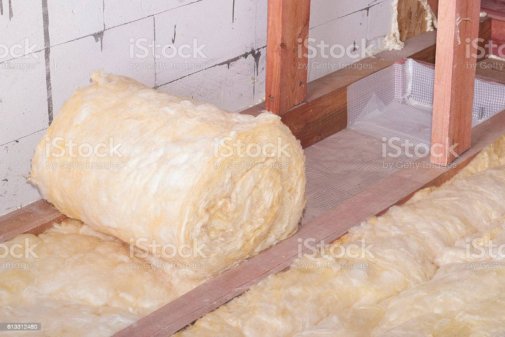 mineral wool packing stock photo
