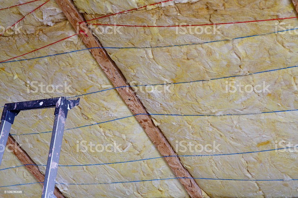 Mineral wool THERMAL INSULATION stock photo
