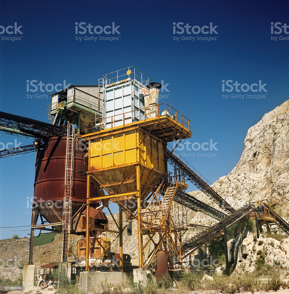 Minerals extraction plant and cave stock photo