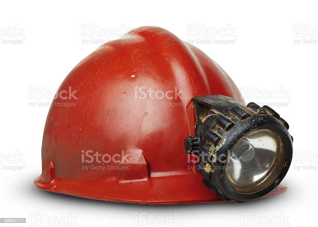 Miners helmet stock photo