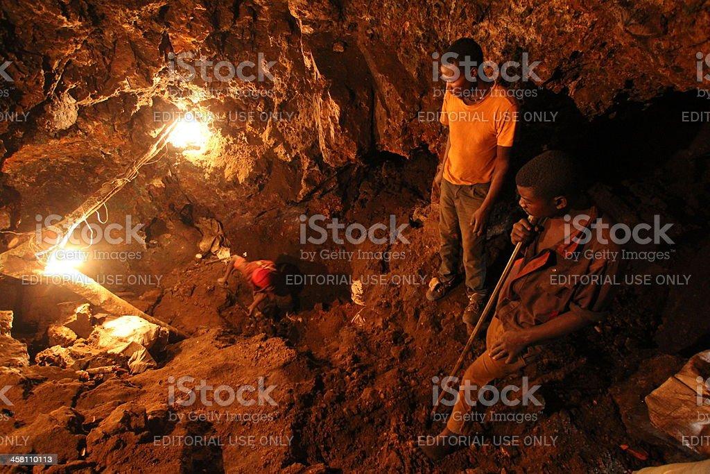 Miners & Underground Mining in Africa stock photo