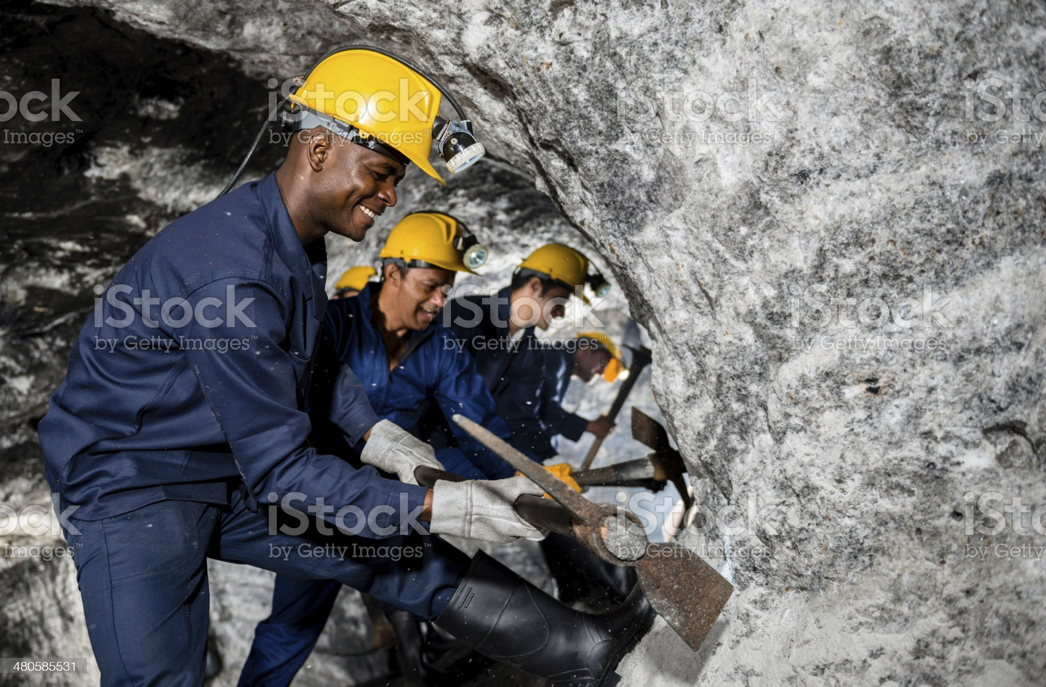 Miners working at the mine royalty-free stock photo