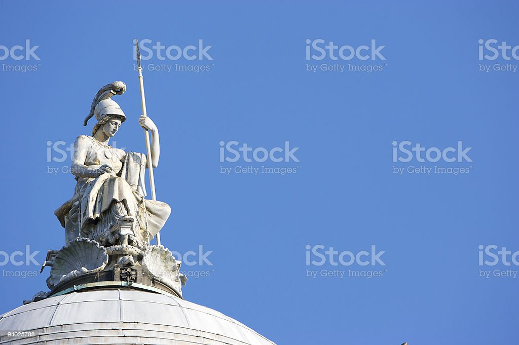 Minerva, Goddess of Wisdom on Liverpool Town Hall royalty-free stock photo