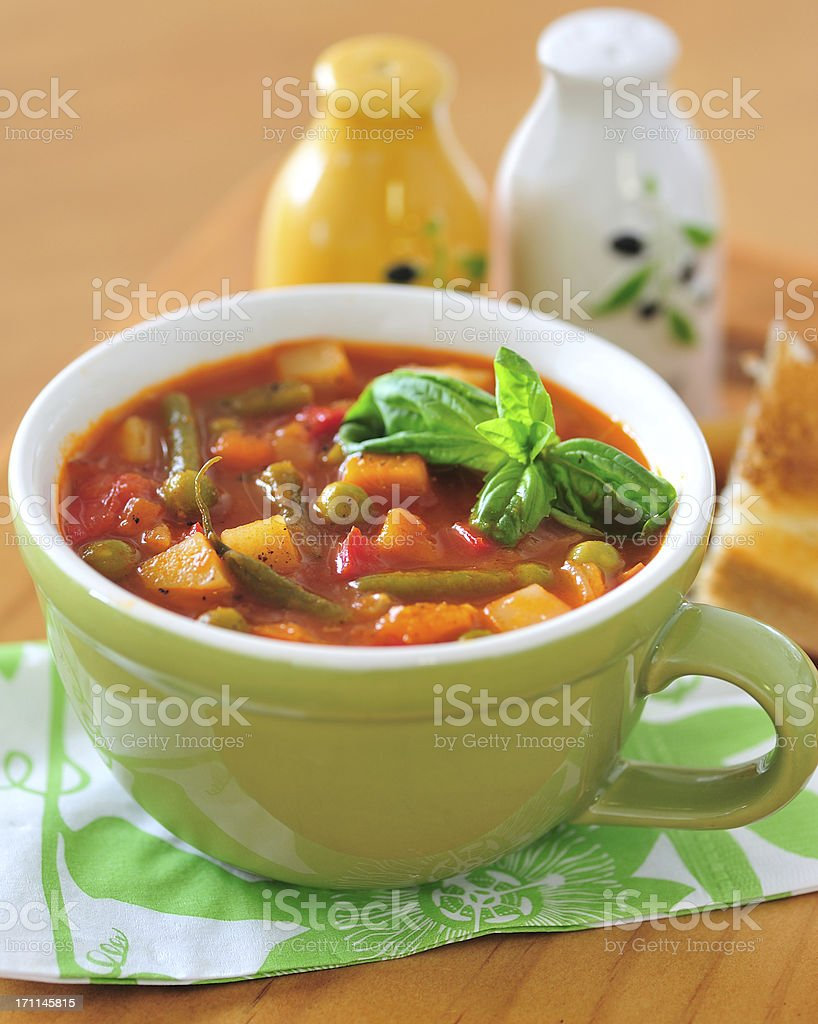 Minestrone in Mug Cup stock photo
