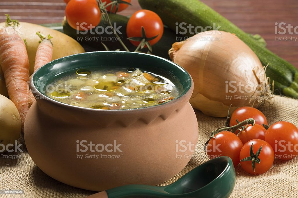 Minestrone - Italian vegetable soup royalty-free stock photo