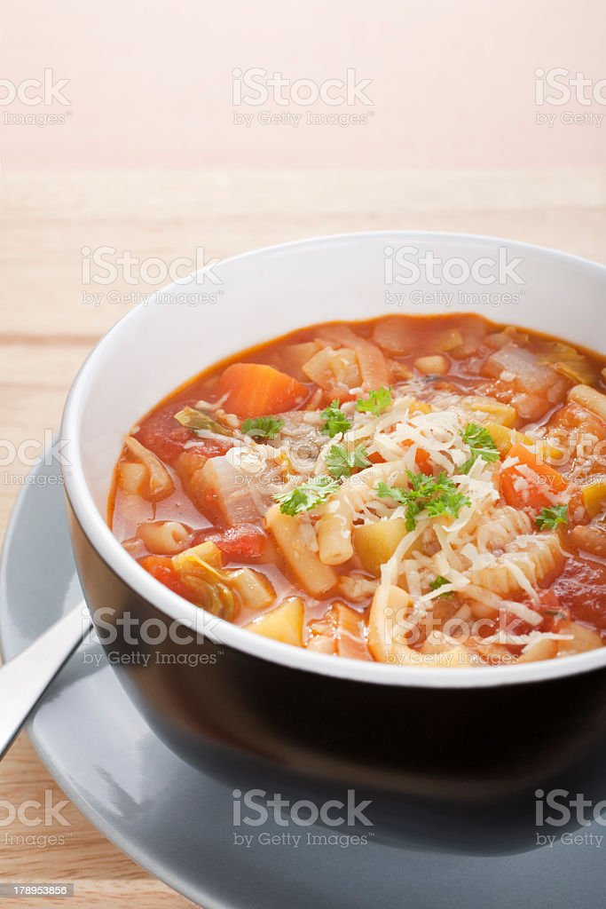 Minestrone Soup and Copy Space royalty-free stock photo