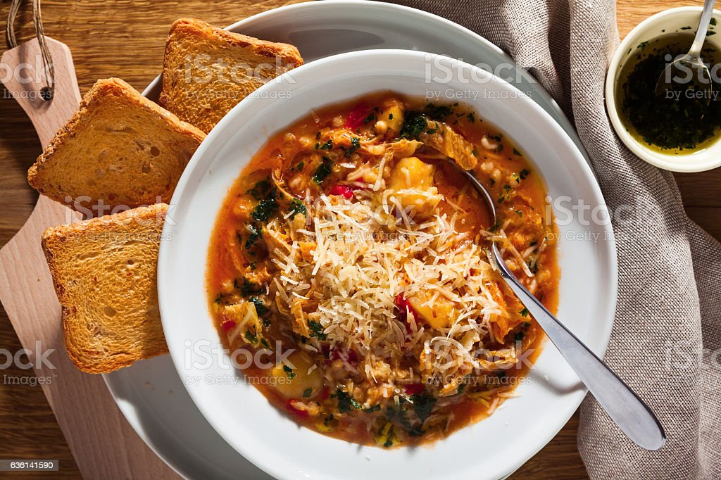 minestrone soup and Zwieback. dieting healthy food stock photo