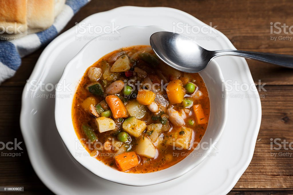 minestrone soup on the bowl stock photo