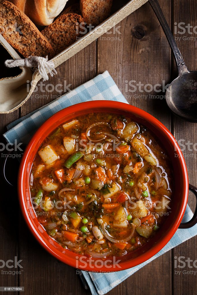 minestrone soup on the pot stock photo