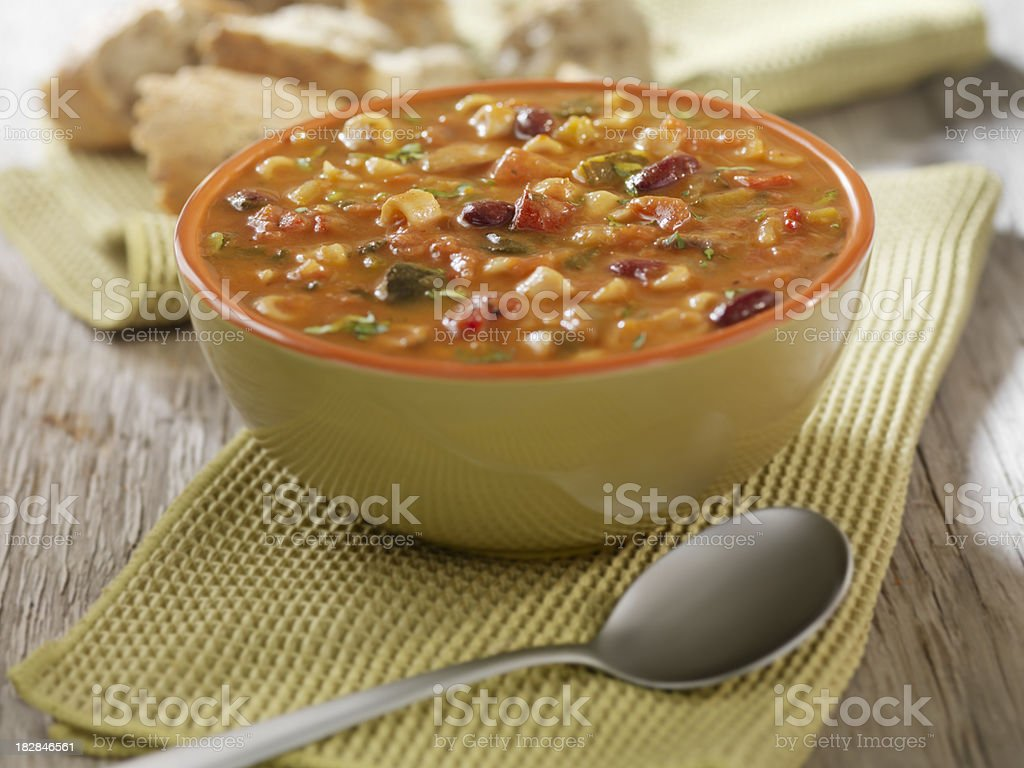 Minestrone Soup with Crusty Bread stock photo