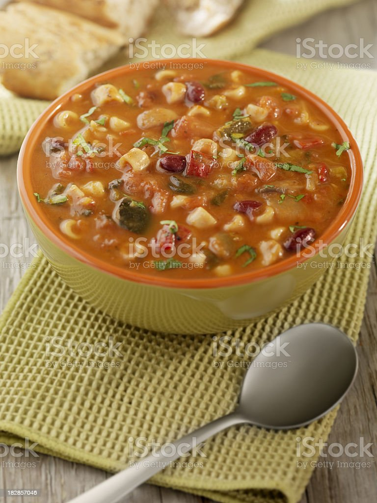 Minestrone Soup with Crusty Bread royalty-free stock photo