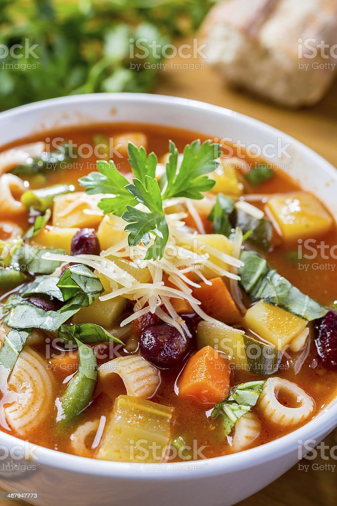 Minestrone Soup with Pasta, Beans and Vegetables stock photo