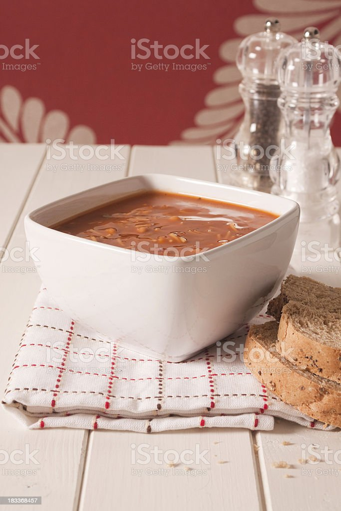 Minestrone Soup with Salt and Pepper stock photo