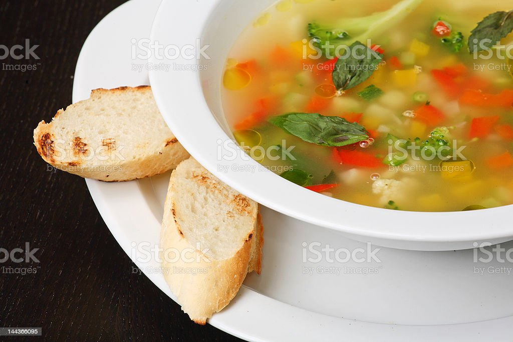 Minestrone vegetable soup royalty-free stock photo