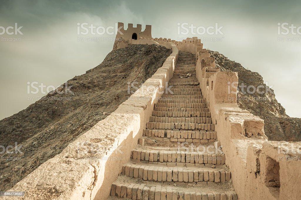 Ming Great Wall At Jiayuguan, Gansu China. stock photo