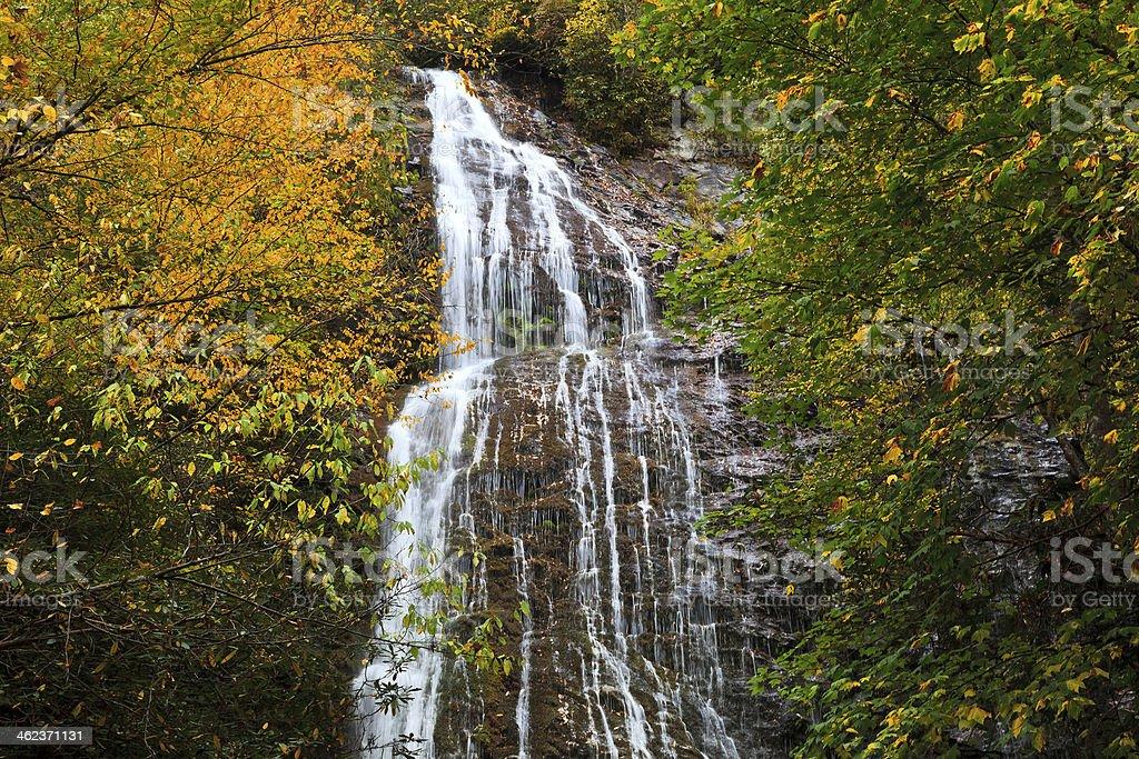 Mingo Falls near Cherokee, North Carolina in the fall stock photo