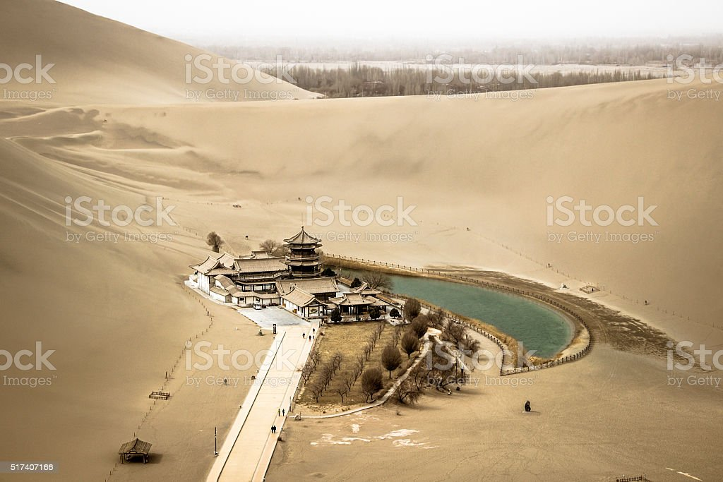 Mingsha shan esert and Crescent moon lake in Dunhuang, china stock photo