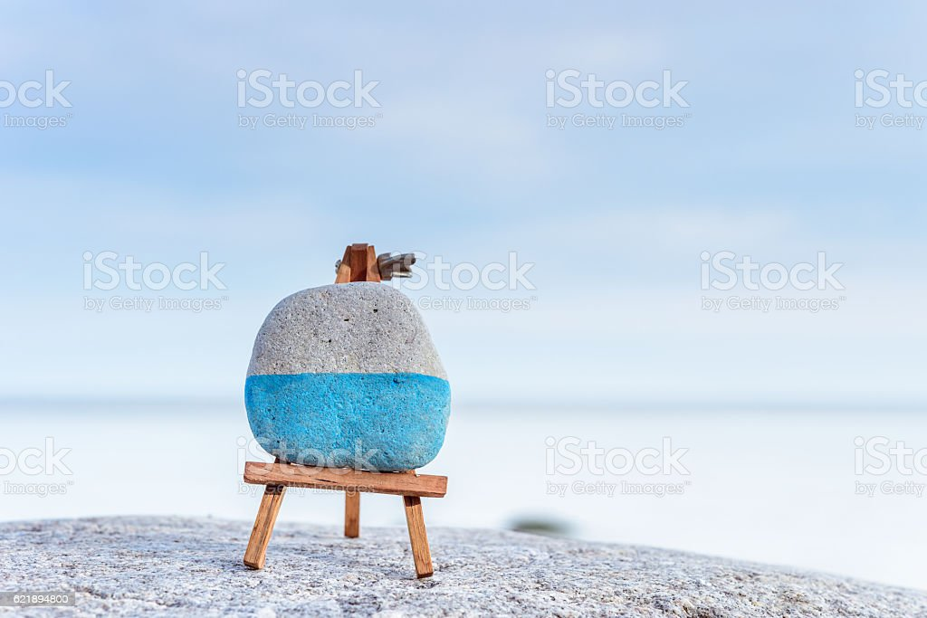 Mini art-board on seashore stock photo