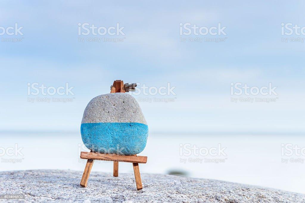 Mini art-board on seashore stock photo