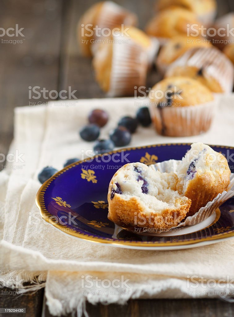 Mini Blueberry Cupcakes On Old China royalty-free stock photo